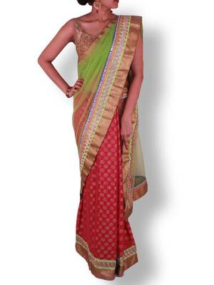 Green Pink Half and Half Net Georgette Saree with Pita and Stone Work Border - Sweta Sutariya