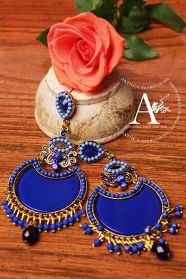 Blue Diamond Chandelier earrings with Blue-Black shaped Stones, designed by Antique Impressions