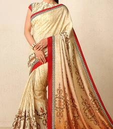 Buy Beige printed tussar silk saree with blouse fancy-saree online