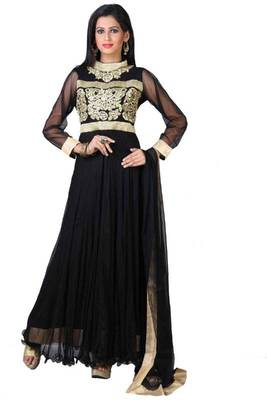 Black Net Embroidered Party and Festiva Ready Madel Lawn Kameez
