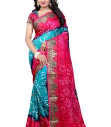 Buy Pink hand woven art silk saree with blouse bandhani-sarees-bandhej online
