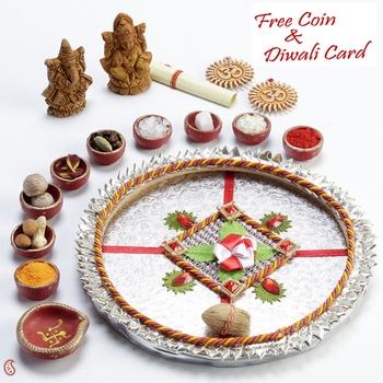Silver Finish Gota work Diwali Pooja Thali