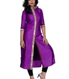 Buy Purple plain silk stitched kurtas-and-kurtis wedding-season-sale online