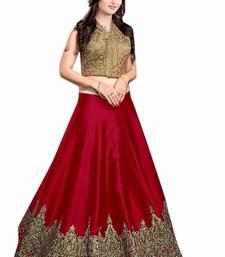 Buy Red embroidered dupion silk unstitched lehenga with dupatta lehenga online