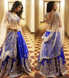 Buy Blue embroidered dupion silk unstitched lehenga with dupatta lehenga online