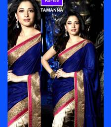 Buy saree fabric-satin chiffon,blouse-dhupiyian,diamond and zari work,colour-blue tamanna-bhatia-saree online