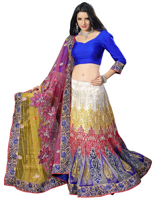 Multi Net party wear Hand Work Embroidered Sarees With  Blouse