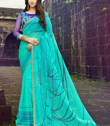 Buy turquoise printed cotton saree with blouse printed-saree online