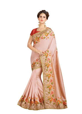 Pink embroidered brocade saree with blouse
