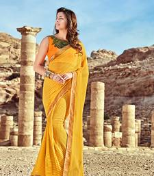 Buy yellow printed georgette saree with blouse women-ethnic-wear online