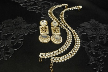 Gold Plated Handcrafted White Earrings & Pearl Anklets