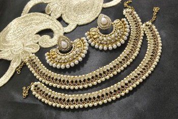 Bollywood Pearl  Earrings with Maroon stones & pearl Anklets