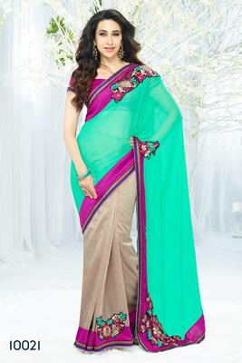 Cyan&Cream  coloured Designer Khadi Silk  Saree with blouse piece