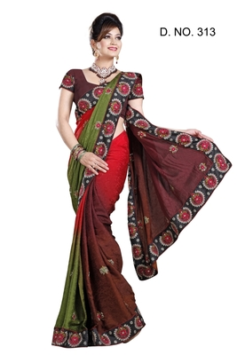 JEQUARED PEDDING PARTY WERE SAREE WITH BLOUSE