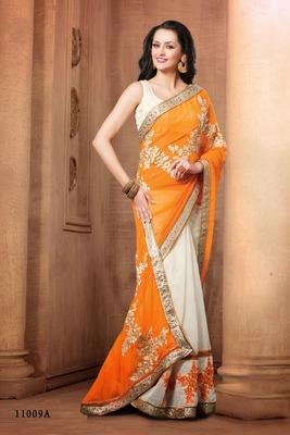 Indian saffron border work chiffon pallu cotton net partywear rajasthani saree with blouse piece