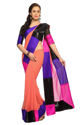 Peach  / Magenta Embroidered Faux georgette Saree With Blouse (1484)