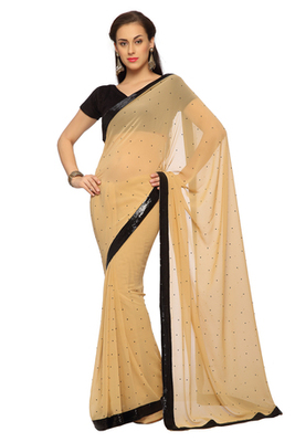 Beige Embroidered Faux georgette Saree With Blouse (1528)