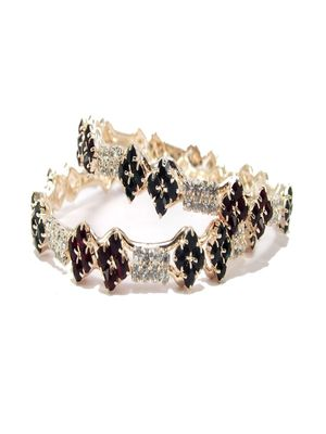 9blings maroon green cz gold plated 2pc bangle l1056