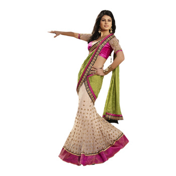 Ethnic Basket Georgette and Net Green With Cream Colored Saree.With Blouse