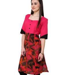 Buy Orange printed cotton stitched kurtas-and-kurtis kurtas-and-kurti online
