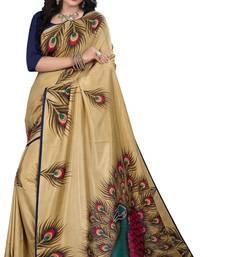 Buy Cream printed silk saree with blouse fancy-saree online
