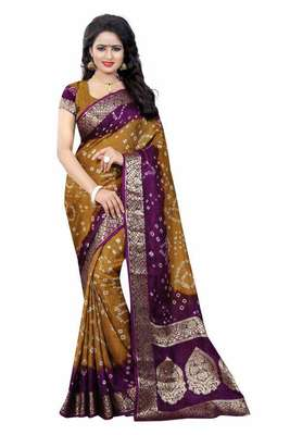Multicolor printed jute cotton saree with blouse