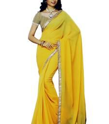 Buy Yellow plain organza saree with blouse ethnic-saree online