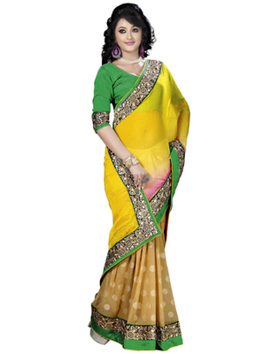 Yellow Embroidered Pure Chiffon Saree With  Blouse