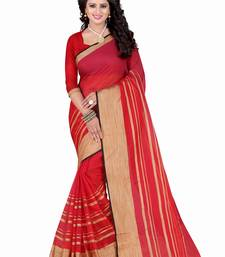 Buy Red printed polycotton saree with blouse below-500 online