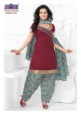 Maroon Embroidered Cotton Un-Stitched Printed Salwar Kameez