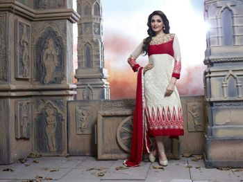 Cream and red semi stitched Salwar Suit