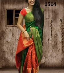 Buy Green printed silk saree with blouse printed-saree online