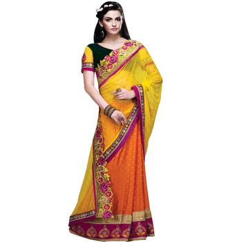 Yellow & orange embroidered soft net & viscose silk Half N Half wedding designer saree with blouse