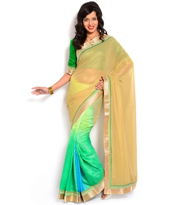 Yellow and green emboidered chiffon and cotton Half N Half saree with blouse