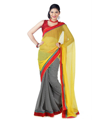 Yellow and black embroidered chiffon Half N Half saree with blouse