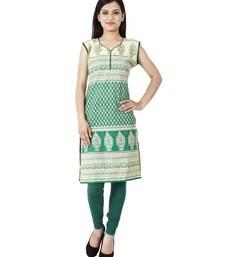 Buy Green printed cotton stitched ethnic-kurtis ethnic-kurti online