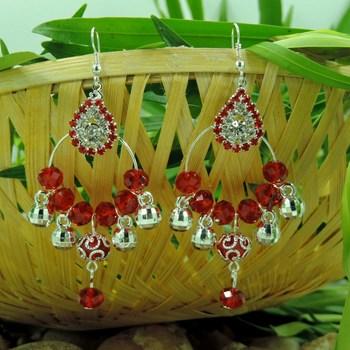 Ovel Shape Red Crystal Studded Bali