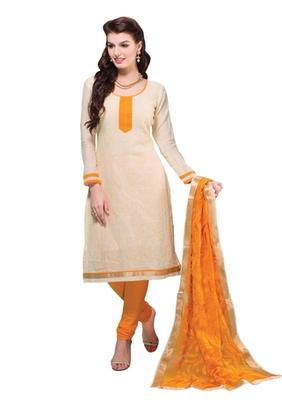 Fawn & Orange unstitched churidar kameez with dupatta-Belaa-48008