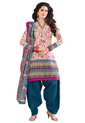 Pink & Blue unstitched churidar kameez with dupatta-KO-4605