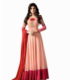 Buy Cream embroidered georgette semi stitched  salwar suit with dupatta ethnic-suit online