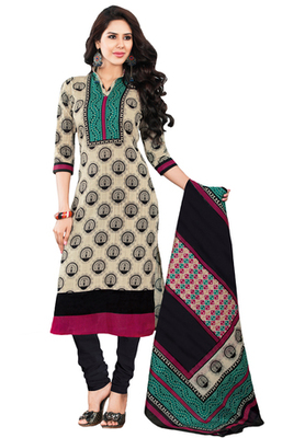 Fawn & Black unstitched churidar kameez with dupatta-KO-4623