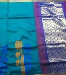 Buy Teal hand woven pure uppada silk saree with blouse south-indian-saree online