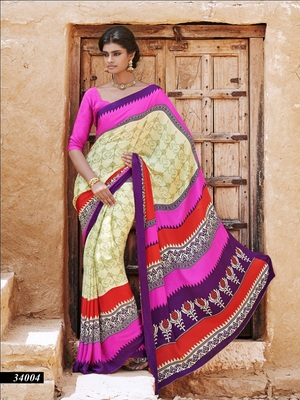 Crepe Saree with Un-Stitched Blouse