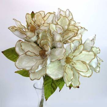 Bunch of 6 Velvet Magnolia Flowers - White