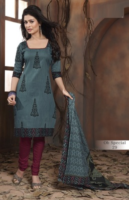 Trendy Grey & Maroon Unstitched Pure Cotton Dressmaterial