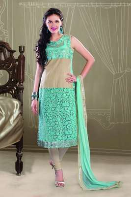 Latest Beige & Blue Cotton & Braso Net Salwar  with Mirror work Border - SL2022