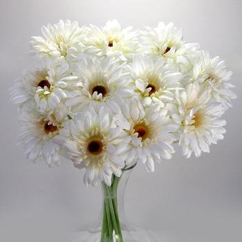 Artificial Gerbera - 12 stems - White
