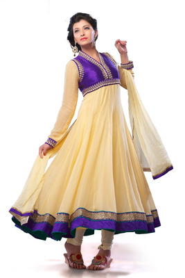 Yellowish Beige Flared Anarkali with exclusive suit collar neckline - SL2658
