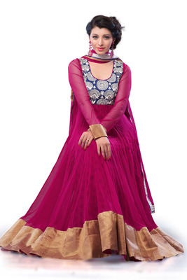 rani pink net & blue jamavar combo anarkali with thread work in yoke - SL2662