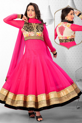 Multi colour net anarkali with standing collar & high v neck - SL2677
